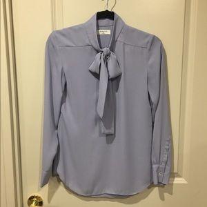 Aritzia Babaton pussy bow blue blouse